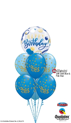 Large Bubble 6 Latex Helium Bouquet Blue