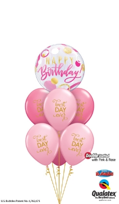 Large Bubble 6 Latex Helium Bouquet Pink